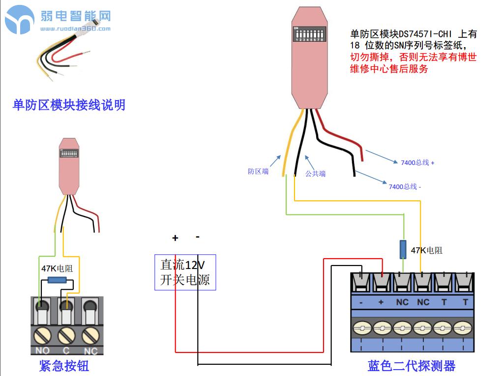 博士电子围栏7400 单防区模块接线安装指南